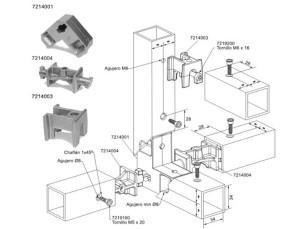 Uniones para tubos cuadrados de 40x40x3 mm alu stock s a for Uniones para perfiles cuadrados de aluminio