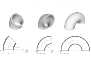 Elbows with radius ≈ 2,5xNB A 45°, 90° and 180°