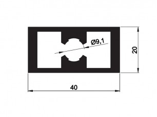 Reinforced vertical bar 40x20