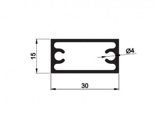 Rectangular tube with screw support 30x15