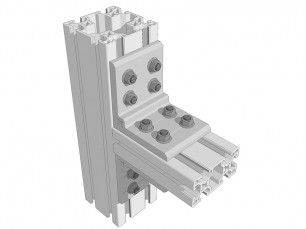 Aluminium right-angled bracket 90x90x10