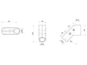 7090312 - Unión lateral 45º/135º 4 tornillos