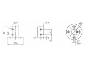 70903881 - Base de anclaje 2 tornillos prisioneros
