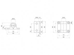7090385 - Base soporte lateral de longitud 80 mm