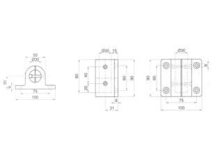 7090366 - Base soporte lateral de longitud 90 mm