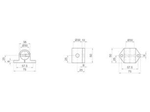 7090384 - Base soporte lateral 2 patillas