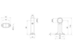 7090375 - Terminal soporte pasante altura 113 mm