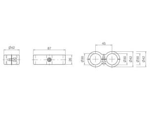 7090331 - Unión pasante doble paralela 87 mm