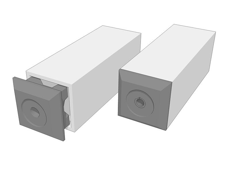 Tapas para tubos cuadrados alu stock s a - Perfil cuadrado aluminio ...