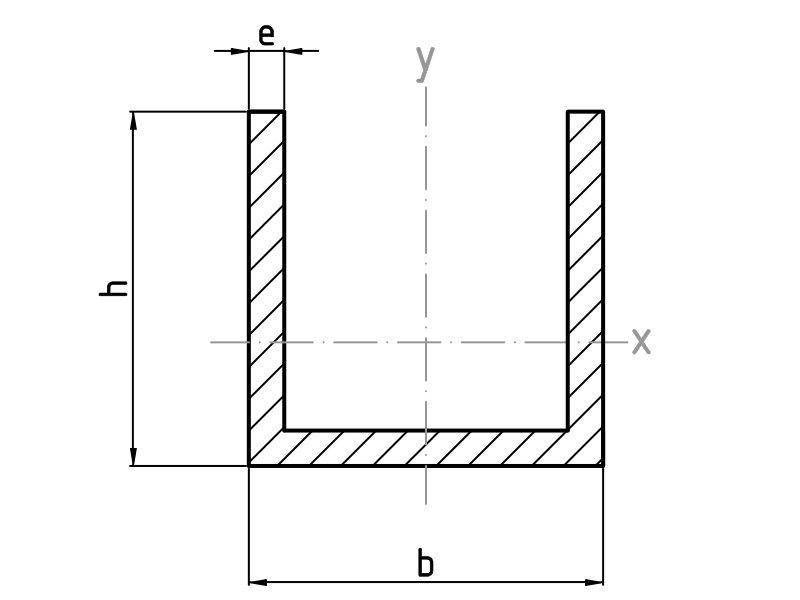 Perfiles u de aluminio alu stock s a - Perfil de aluminio en u ...
