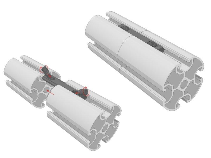 Uniones longitudinales alu stock s a for Uniones para perfiles cuadrados de aluminio